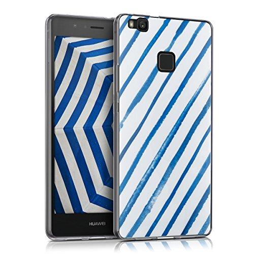kwmobile Funda para Huawei P9 Lite - Carcasa de TPU para móvil y diseño con Rayas de Acuarela en Azul/Blanco