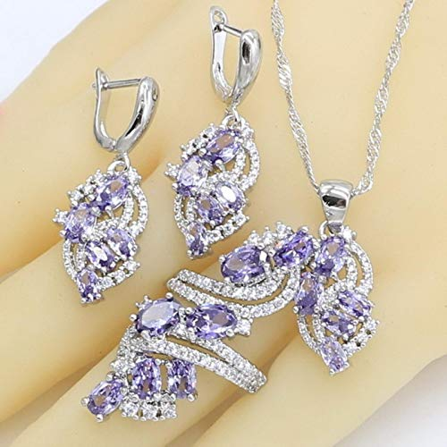 GoodLuck Conjuntos de Joyas de Plata para Mujer, Boda, Collar de Amatista púrpura, Pendientes, Anillo, Pulsera, Caja de Regalo