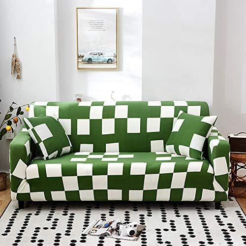 Funda Elástica de Sofá Cubre Antideslizante/Protector Ajustables de Sofá, Decorativas Fundas Rejilla Verde Impresa -para Sofas, con Cuerda de Fijación (3 Plazas:175-220cm)+1 Fundas de Almohada