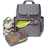 Skip Hop Forma Diaper Bag Backpack, Soft Multi-Function Baby Travel Bag with Changing Pad & Packing Cubes, Grey