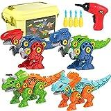 Luclay Dinosaurios Juguetes para Niños con Caja de Almacenamiento Taladro Eléctrico, STEM Learning Construction Engineering Play Kit para niños y niñas de 3 4 5 6 7