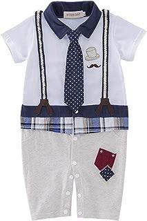 RONSHIN Kids Baby Boys Short Sleeve Strap Necktie Gentleman Jumpsuit