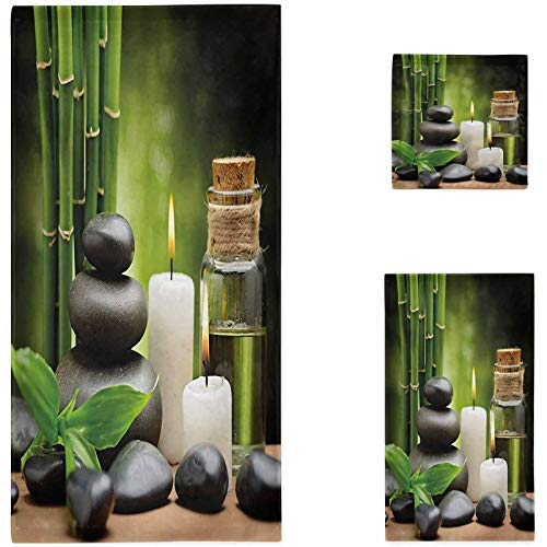 Spa Towels Bathroom Sets, Hot Massage Rocks Combined with Candles and Scents Landscape of Bamboo Print 3-Piece Towel Set, Green White and Black