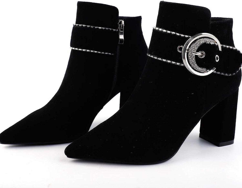 HOESCZS Frauen Schuhe Herbst Und Winter Damen Damen High Heels Dick Mit Spitzen Tiefen Mund Einzelne Schuhe  Top-Marke