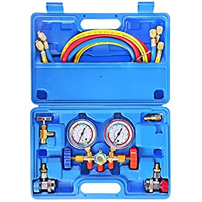 JIFETOR 3 Way AC Manifold Gauge Set, HVAC Diagnostic Freon Charging Tool for Auto Household R12 R22 R404A R134A Refrigerant, 5FT Hose Adjustable Quick Coupler Can Tap Acme Adapter