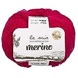 5 ovillos La Mia%100 lana merino en total 9.5 onzas cada 1.5 oz (50 g) / 191 yardas (175 m), fino, deportivo, premium suave, hilo natural, color rosa – L058