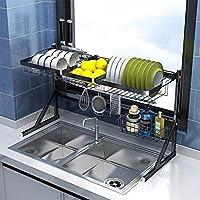 YMLSD シンク、2層ステンレス鋼キッチンシンクカトラリーディッシュドレイラー、キッチンオーガナイザー乾燥ラック、大容量キッチン用品カッティングナイフ貯蔵ホルダー