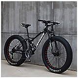 Qj Bicicletas de montaña, 26 Pulgadas Fat Tire Bicicletas de montaña, Rígidas Bastidor de suspensión y la suspensión de Doble Tenedor Todo Terreno de Bicicletas de montaña,21speed,BlackSpoke