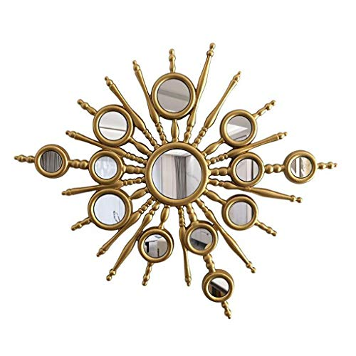 YXB Amerikanische Sonnenspiegel Wandbehang Runde Stereo Sunburst Spiegel Spiegel Wohnzimmer-Wand-Porch Dekorative Spiegel J4/22 (Size : 80×80cm)
