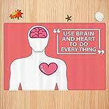 Alfombra de baño Antideslizante,Conjunto de Citas, Forma Humana con Palabras, Uso del Cerebro y el corazón para Hacer...