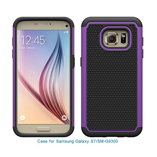 Galaxy S7, Berry Accessory(TM) [Drop Protection] Protective Case [Shock Proof] [Dual Lawyer] Hybrid Defender Armor Case Cover For Samsung Galaxy S7 With Free Berry logo stand holder(Purple)