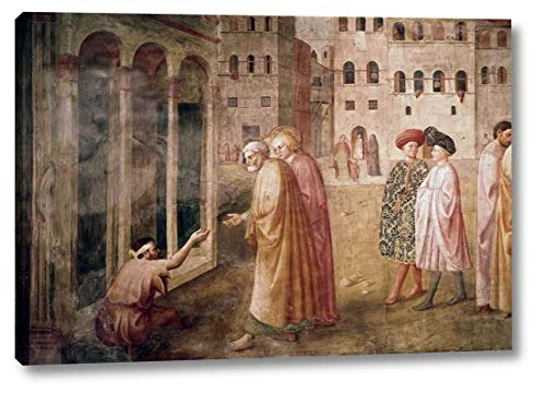 """Healing of The Cripple by Masaccio - 26"""" x 38"""" Canvas Art Print Gallery Wrapped - Ready to Hang"""