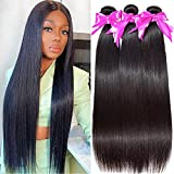 Straight 3 Bundles 9A 100% Unprocessed Straight Hair Bundles Brazilian Virgin Hair Weave Human Hair Extension (22 24 26 Inch)