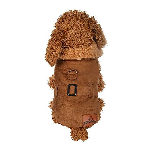 Gepolsterte Verdickung Nachahmung Hirsch Lederjacke Hundekostüme Pet Kleidung YunYoud Hundemantel Warm Wintermantel Haustier Mantel Hundekleidung Für Kleine Hunde Pullover (L, Gelb)