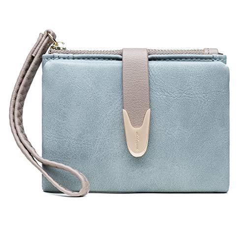unknow Fd.Gomdn Women Faux Leather Wallet Small Bifold Zipper Pocket Wallet Card Case Purse,Blue