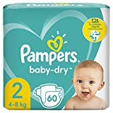Pampers Baby-Dry Taille 2 60Couches Jusqu'à 12h de Protection 4-8 kg