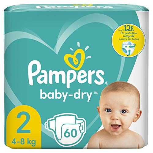 Pampers Baby-Dry Taille 2 Jusqu'à 12H de Protection 4-8 Kg, 60Couches