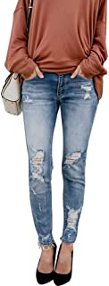 Womens Skinny Jeans - Women Junior Distressed Ripped Holes Stretchy High Waisted Sexy Skinny Jeans