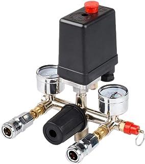 luchtcompressor, drukschakelaar, driefasig, drukschakelaar, controleventiel, met luchtregelaar en meetapparaat.