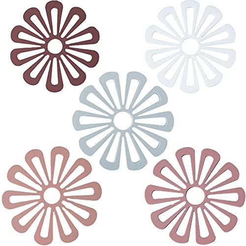 5 Piezas Alfombrilla Salvamanteles Flores, Salvamanteles de Silicona, Posavasos de Silicona, Almohadillas Calientes de Flores Antideslizantes Duraderas Multiusos, para Mesa de Cocina (5 Colores)
