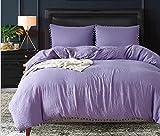 twinqueen/King Size Color sólido gris/morado suave lijado pulido 120Hilos 3piezas Juego de cama una funda de edredón de dos funda de almohada de lujo moderno Simple moda borla bola