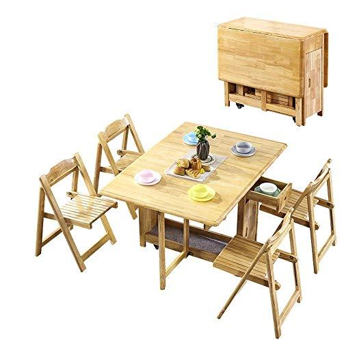 N/Z Equipo Diario 1.45M 4 sillas Juego de Mesa de Comedor Plegable Hoja abatible Mariposa Muebles de Cocina de Madera Maciza Pino Natural (Color: Negro + Blanco)