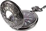 Reloj de Bolsillo de Cuarzo con Cadena Reloj de bolsillo Negro Vintage