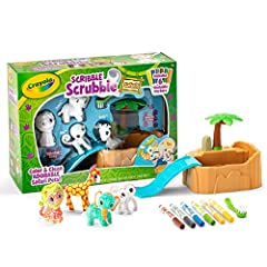 Crayola Scribble Scrubbie Safari Tub Animal Toy Set includes 4 washable animal figures, 1 scrub tub with slide, 1 scrub brush, 6 washable colored markers, and an instruction sheet Color and customize these collectible jungle animals with fuzzy white ...