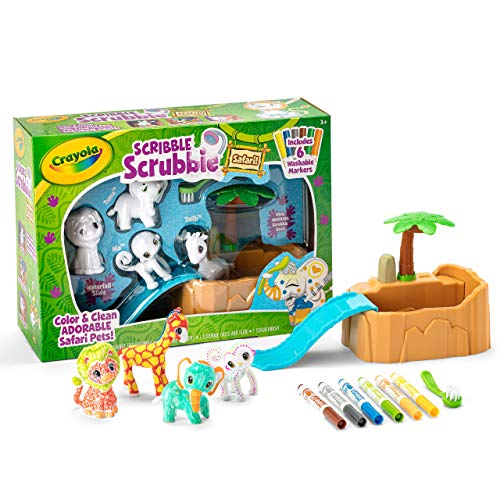 Crayola Scribble Scrubbie Safari Animals Tub Set, Color & Wash Creative Toy, Gift for Kids, Ages 3, 4, 5, 6