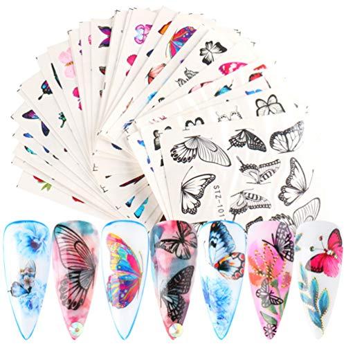 Pixnor 30 Feuilles Autocollant à Ongles Papillon Décalcomanies à Ongles de Transfert de Papillon Vives Colorées pour La Conception de Nail Art (Style Assorti)