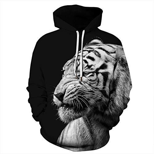 yyqx container Heren en vrouwen realistische 3D gedrukte trui hooded sweatshirt hoodie grote zak diep witte tijger 3D hoodie