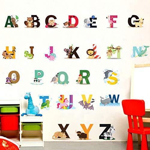 Etiqueta de la pared para niños, animales de dibujos animados 26 Alfabeto...