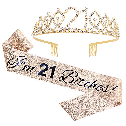 'I'm 21 Bitches!' Sash & Rhinestone Tiara Set - 21st Birthday Gifts Birthday Sash for Women Fun Party Favors Birthday Party Supplies (Gold Glitter with Black Lettering)
