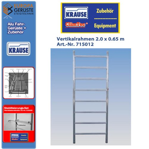 Krause ClimTec Alu Fahrgerüste Vertikalrahmen 2.0 x 0,65 m