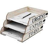 Juego de 3 bandejas de madera para correo electrónico en 3 tipos, 31 x 22,5 x 5,5 cm, apilables, organizadores