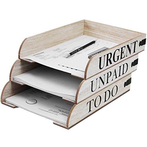 3er Set Holz Ablagefächer Mail in 3 Sorten, stapelbar, Organizer Briefablage Postablage Ablagesystem