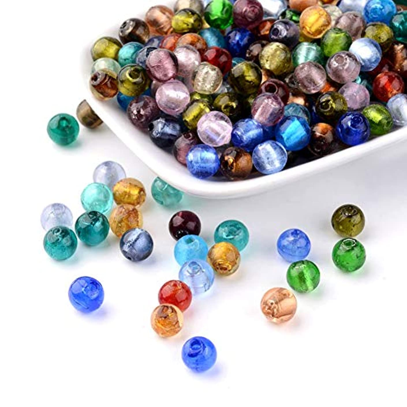 Craftdady 200Pcs Random Mixed Colors Handmade Silver Foil Lampwork Glass Round Spacer Beads 8mm for DIY Jewelry Craft Making