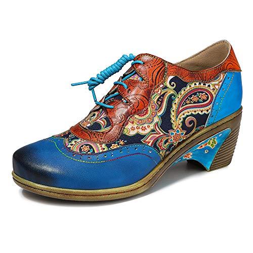 YSZDM dames lederen enkellaarsje, dames vintage kwast borduurwerk bohemien splicing patroon laarzen comfort zachte schoenen gebroken schoenen