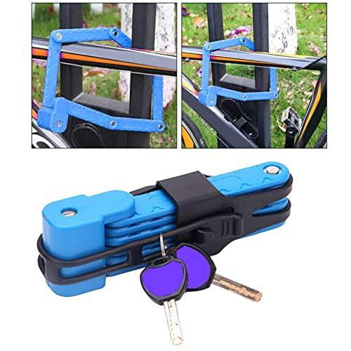 ZZRU Candado de anillo de bicicleta portátil para bicicleta, bloqueo plegable, antirrobo, motocicleta, cadena de piezas de bicicleta, para scooter, accesorios al aire libre, color azul
