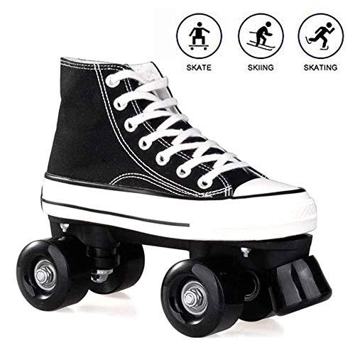 Rollschuhe für Damen und Herren, Discoroller Erwachsene komfortable LED Rollerskates Quad Skating Outdoor für Mädchen und Jungen,Schwarz,41 WOERD