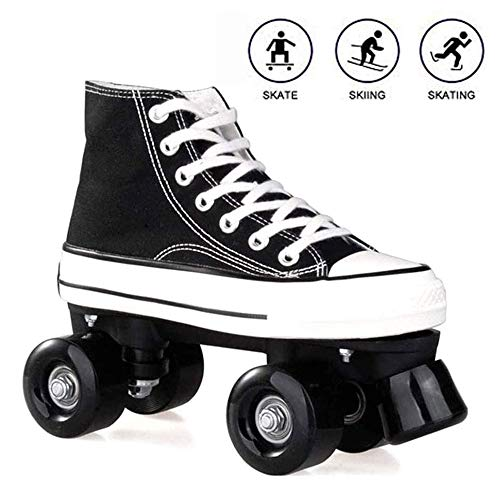 Rollschuhe für Damen und Herren, Discoroller Erwachsene komfortable LED Rollerskates Quad Skating Outdoor für Mädchen und Jungen,Schwarz,43 WOERD