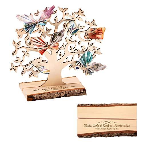 Casa Vivente Geldbaum aus Holz mit Gravur zur Konfirmation, Glaube, Liebe & Kraft, Personalisiert mit Namen, Verpackung für Geldgeschenke, Geschenkidee für Mädchen und Jungen