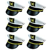 Funny Party Hats Yacht Captain Hat - 6 Pack - Sailor Hats - Navy Marine Hats - Skipper Hats - Nautical Party Hats