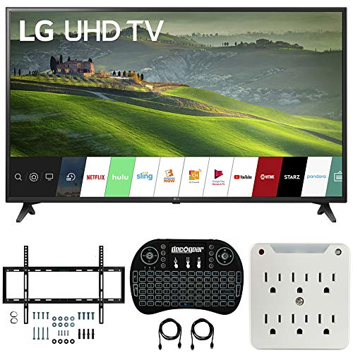 LG 55UM6910 55-inch HDR 4K UHD Smart IPS LED TV (2019) Bundle with Deco Mount Flat Wall Mount Kit, Deco Gear Wireless Backlit Keyboard and 6-Outlet Surge Adapter with Night Light