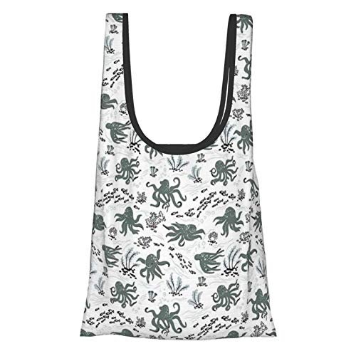 Kraken Decor Cute Little Octopus Figures With Algae And Fishes Cuttlefish Aquatic Art Green White Reusable Fold Eco-Friendly Shopping Bags