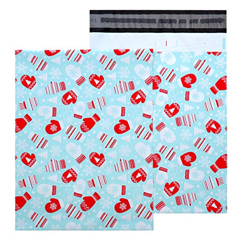 Christmas Poly Mailer - 100 Pack Matte Finish Plastic Mailing & Shipping Bag with Mitten Design in Red and Blue 10' x 13' inches