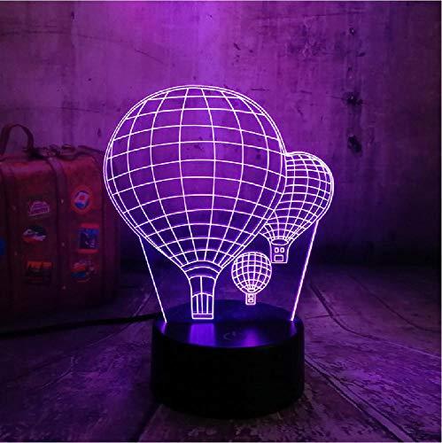 NUEVO Lámpara de escritorio 3D Cambio de color Globo de aire caliente Luz de noche LED Luminaria creativa Ilusión óptica del sueño Valentine Day Kid Gif