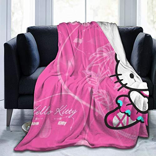 FashionDIY Hello Kitty Decke, übergroß, warm, für Erwachsene, superweiche Decke mit weichem Flanell, für Erwachsene und Kinder, 3D-Druck, Schwarz , 50