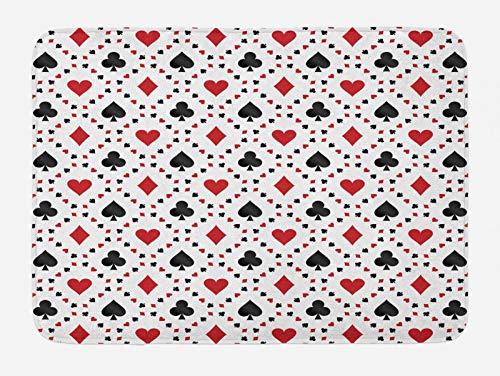 ABAKUHAUS Negro Rojo Tapete para Baño, Turística de póker de Las, Decorativo de Felpa Estampada con Dorso Antideslizante, 45 cm x 75 cm, Negro Rojo