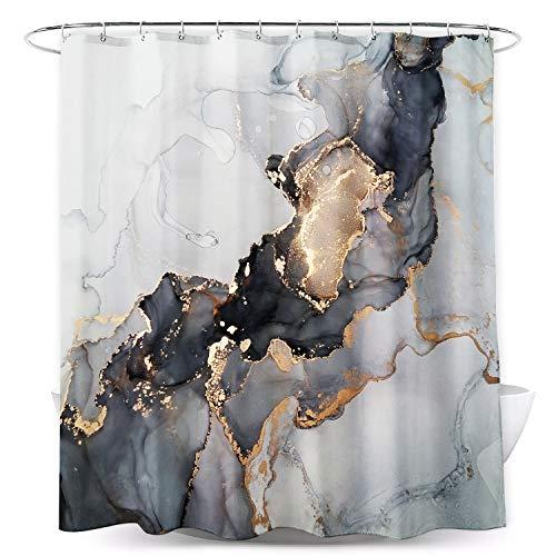 Miyotaa Duschvorhang-Set in Marmor-Optik, 152 x 180 cm (B x H), abstrakte Tintenstruktur, modern, luxuriös, dunkles Polyester, wasserdicht, Badezimmervorhang mit 12 Haken